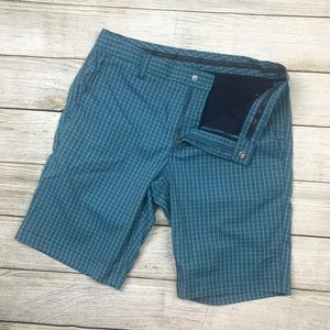 MAIDE Bonobos check blue stretch golf shorts 32